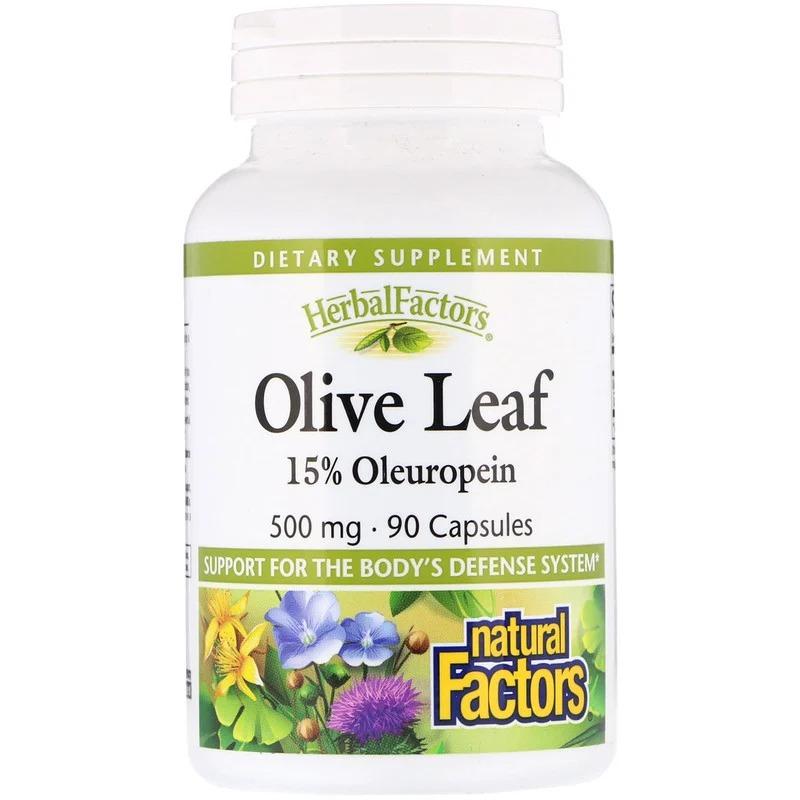 Natural Factors, Herbal Factors, листья оливкового дерева, 500 мг, 90 капсул