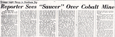 Reporter sees 'Saucer' Over Colbalt Mine – North Bay Daily Nugget 12-27-1954