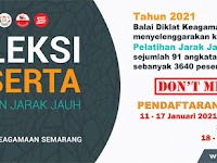 Pendaftaran dan Seleksi Peserta PJJ Online BDK Semarang Tahun 2021
