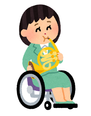 ホルンを演奏する女性のイラスト(車椅子)