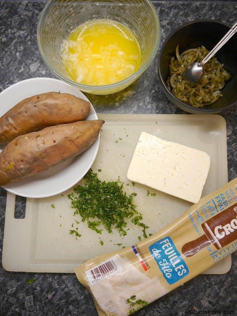 Samosas de pâte filo au fromage feta et patates douces - des apéritifs végétariens faciles, pour toute apéro dînatoire ou amuse-gueule de fin d'année!