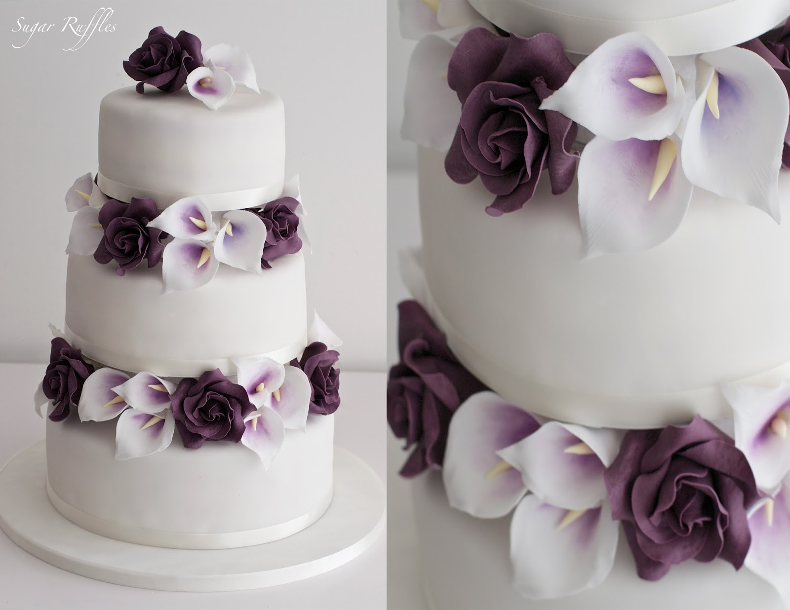 Low Wood Bay Wedding Cakes A 3 tier wedding cake with sugar roses and picasso calla lilies between the  tiers