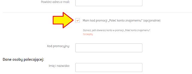 Gdzie wpisać kod polecenia we wniosku o konto osobiste w ING Banku Śląskim?