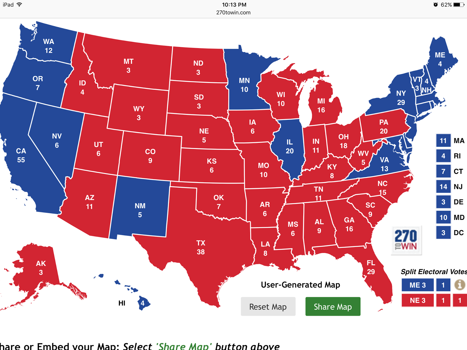 now this next map is more interesting assuming colorado michigan pa and nv go clinton what we have here is a 269 to 269 tie talk about a cluster bomb