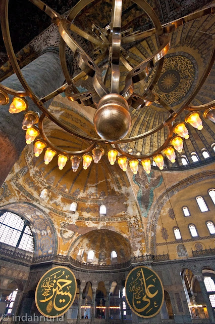 the chandeliers at Hagia Sofia, Istanbul, Turkey