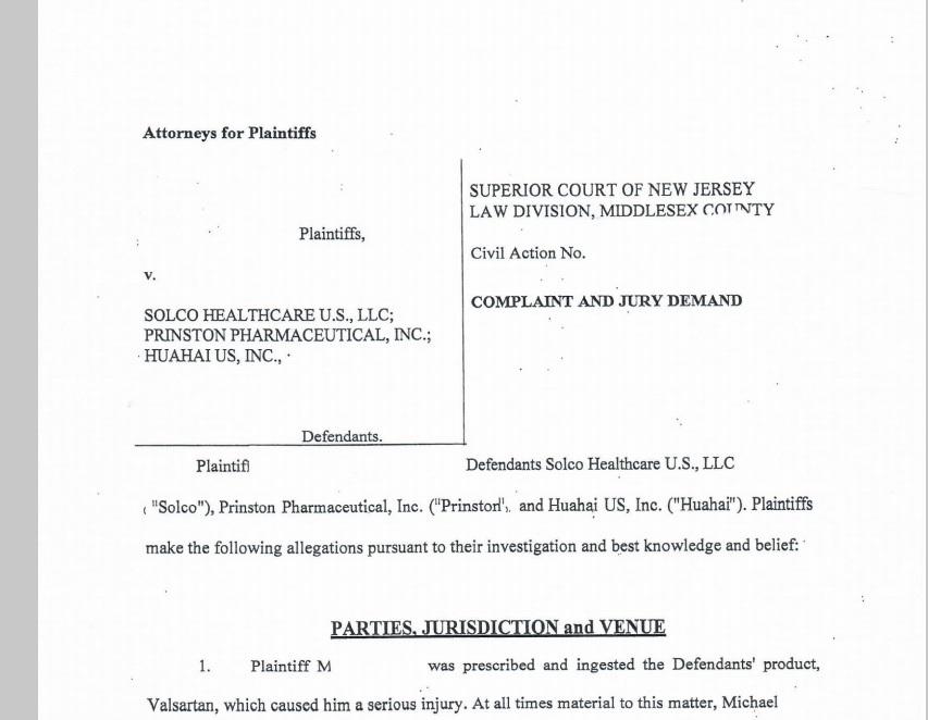 Litigation News: Our Firm: Filed Valsartan Lawsuits, April, 2019