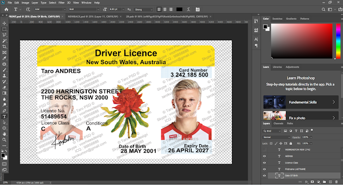 New South Wales Australia DRIVER LICENSE PHOTOSHOP TEMPLATE