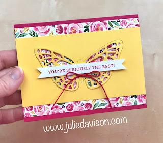 Stampin' Up! Springtime Impressions Butterfly Card CASE ~ Best Dressed Designer Paper ~ www.juliedavison.com