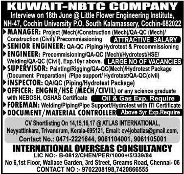 NBTC Kuwait Company Interview in Kochi June 2017