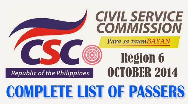 Region 6 Civil Service Exam Results October 2014- Paper and Pencil Test List of Passers
