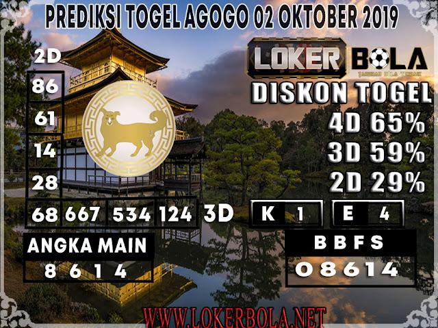 PREDIKSI TOGEL AGOGO LOKERBOLA 02 OKTOBER 2019