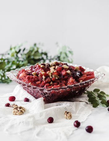 Cranberry Jello Salad in Glass Bowl