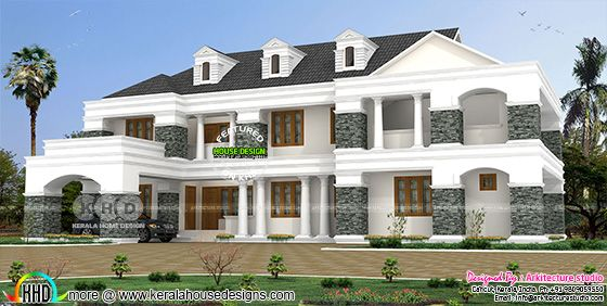 Luxury Colonial model house architecture rendering
