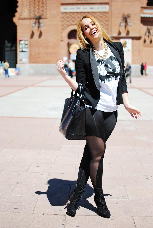 Leggins transparentes, SNB, T-Shirt Chanel, Black, BornPrettyStore