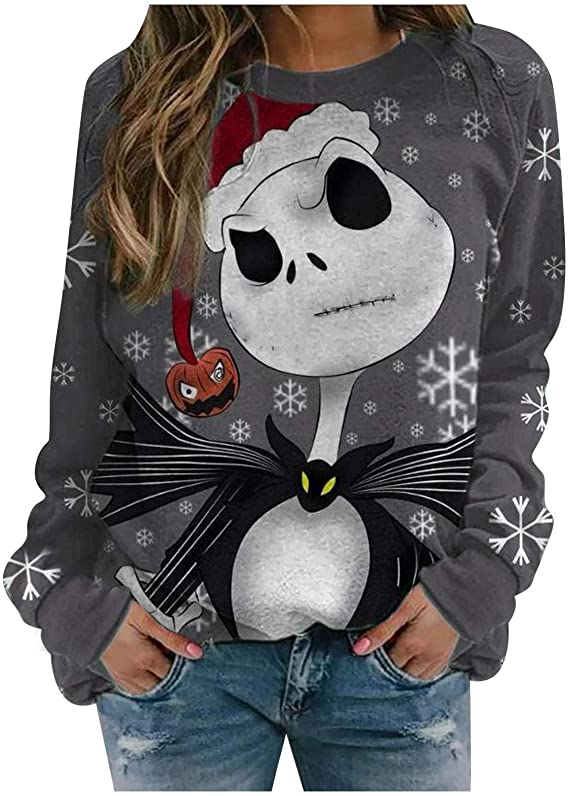 60% OFF Christmas Sweatshirt Ugly Sweater for Women Funny Loose Long Sleeve Round Neck Tops T-Shirt