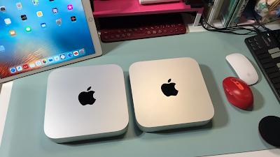 mac mini2020と2014版比較写真上面