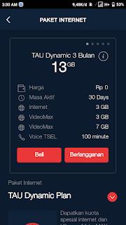 Tutorial Mendapatkan Paket Tau Dynamic Plan Gratis Kouta Internet 13+GB 2