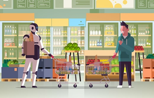 A consumer robot shopping the grocery similar the young boy - Future scope of robotics