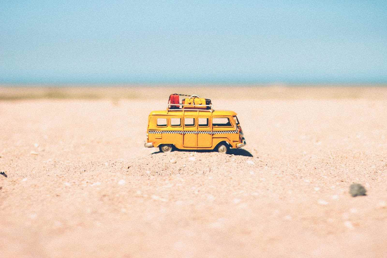 Miniature van on a family holiday