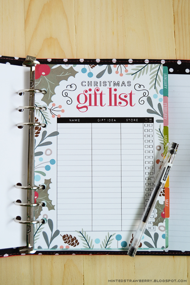 Free Printable: Christmas Gift List Insert for A5 Planners ...