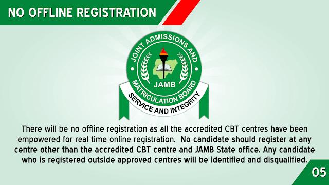 JAMB REG TIPS: NO OFFLINE REGISTRATION