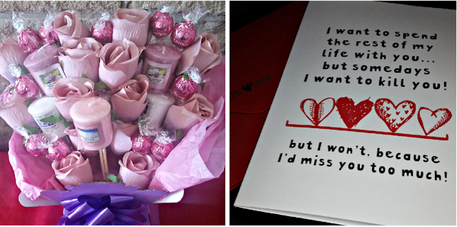 Candle & chocolate bouquet and a valentines day card