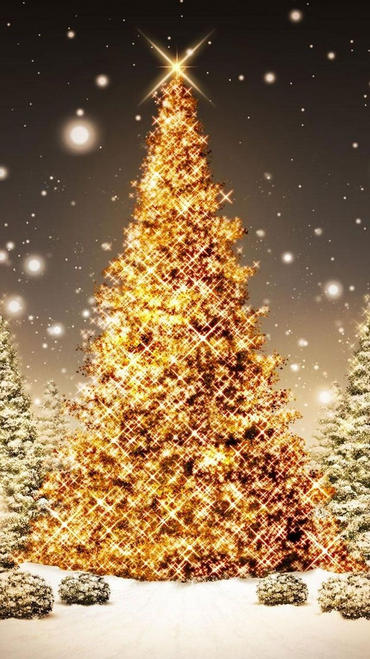 Christmas Glowing Trees HD Wallpaper for iPhone