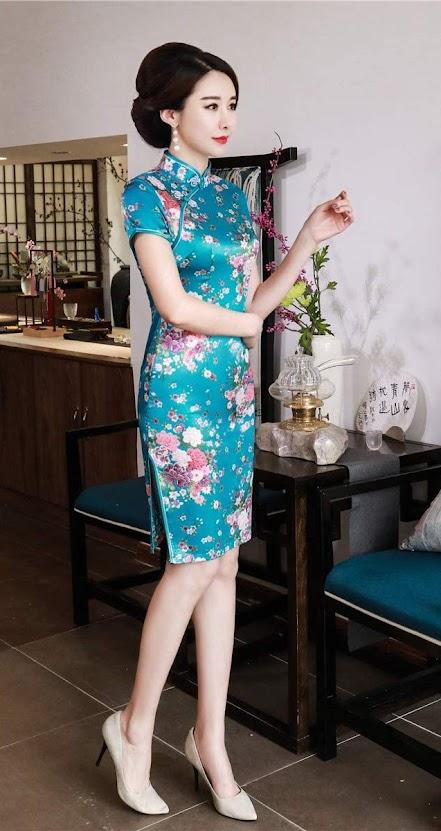 Blue Cheongsam Dress Qipao For Women