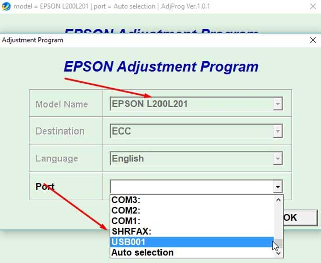 seleccionar el puerto de la impresora epson l200 y 201