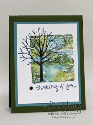 Block Stamping. Stampin' Up! Sheltering Tree stamp set. Handmade sympathy card by Lisa Young, Add Ink and Stamp