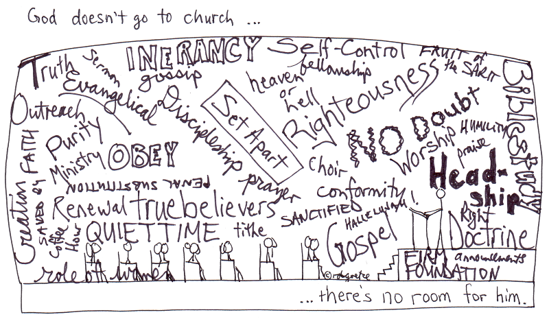 why god doesn't go to church. drawing by rob g