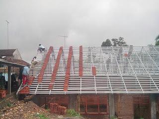 Rangka atap baja ringan model pelana tampak depan