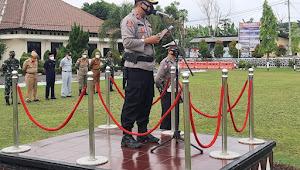 Polres Lampung Utara Laksanakan Apel Gelar Pasukan Operasi Keselamatan Krakatau 2021