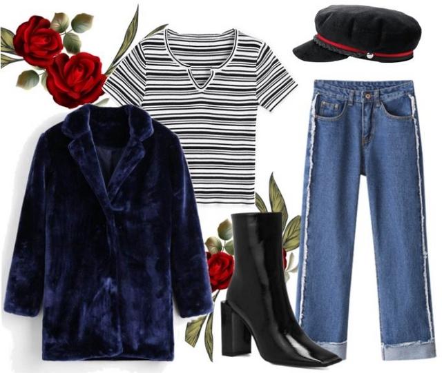 zaful wishlist herfst outfit fake fur bont jas blauw blokhak lak laarzen blogger inspiratie look
