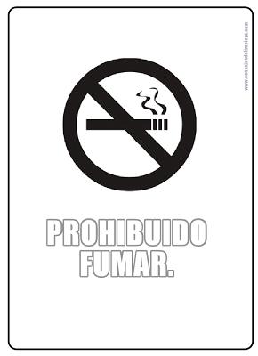 Aviso con prohibición de fumar