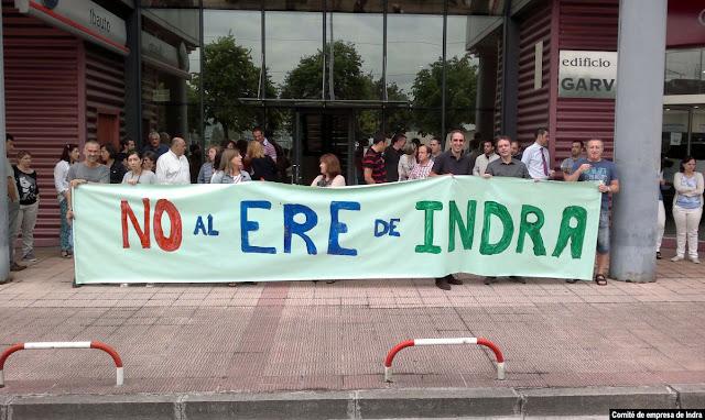 Protesta de los trabajadores de Indra en Barakaldo