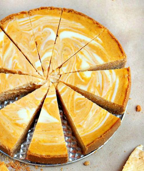 MARBLE PUMPKIN CHEESECAKE #pumpkin #healthycake