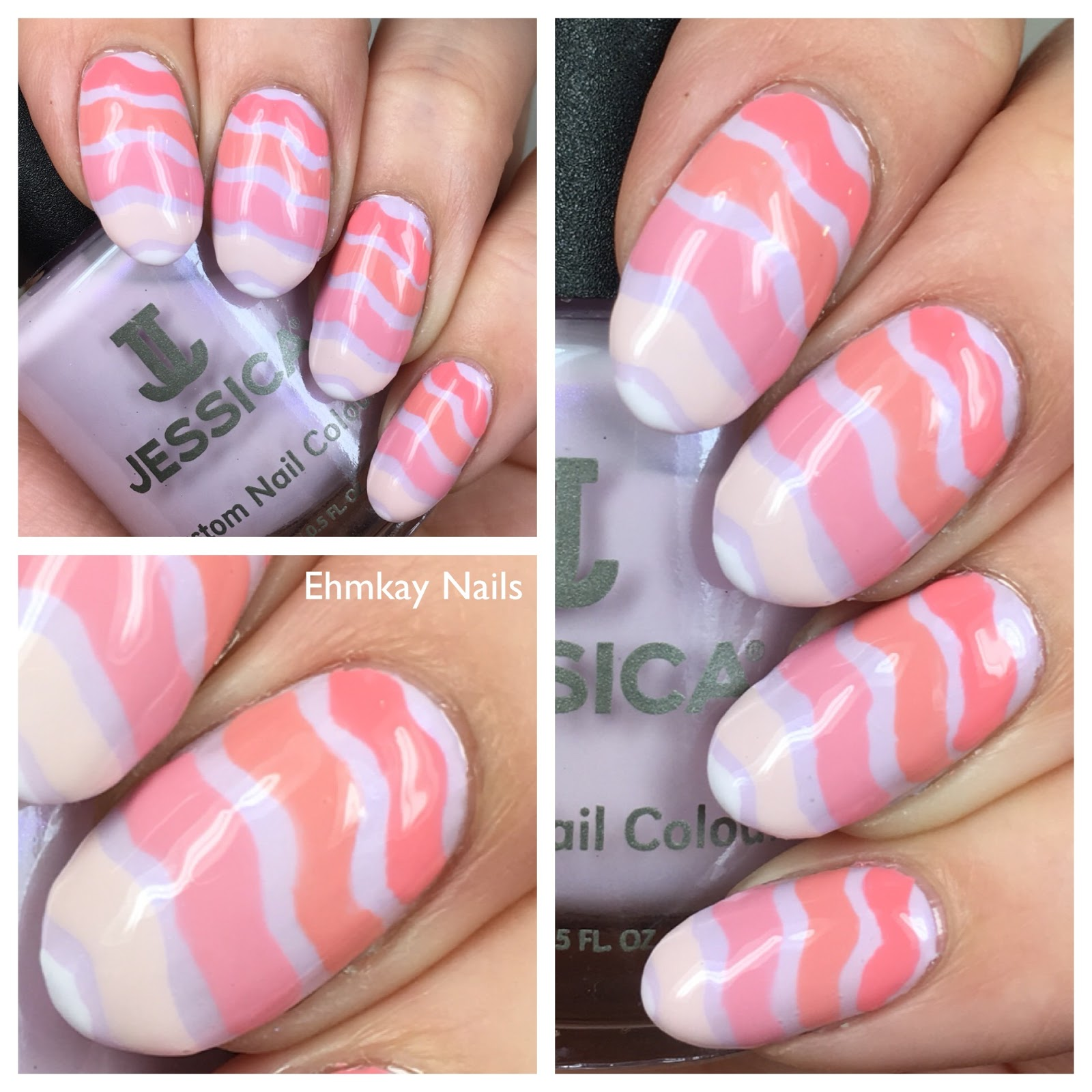 Ehmkay Nails Jessica La Vie En Rose Ombre Waves Nail Art