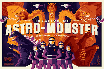 "Godzilla ""Invasion of Astro-Monster"" Screen Print by Tom Whalen x Mondo"