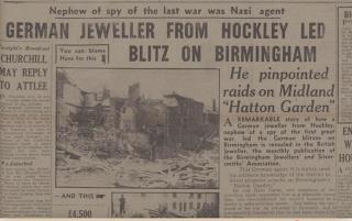 Birmingham Post - 13 June 1945 article on Hans Caesar