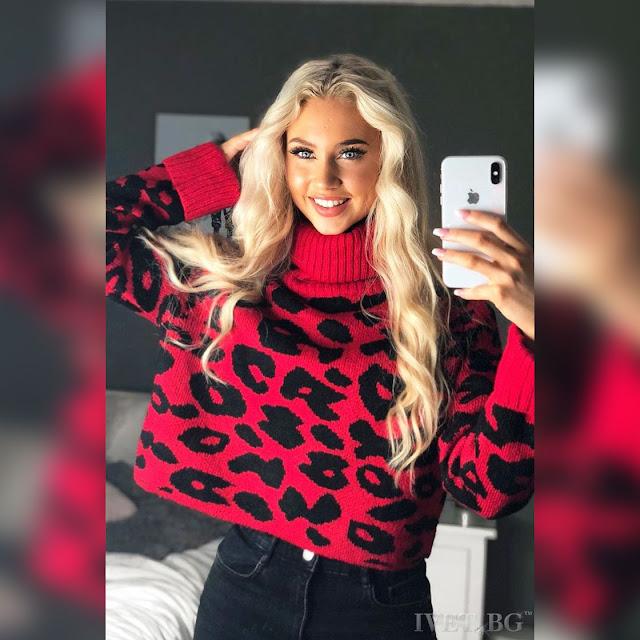 Μακρυμάνικο γυναικείο  κόκκινο με μαύρο πουλόβερ EDMONA