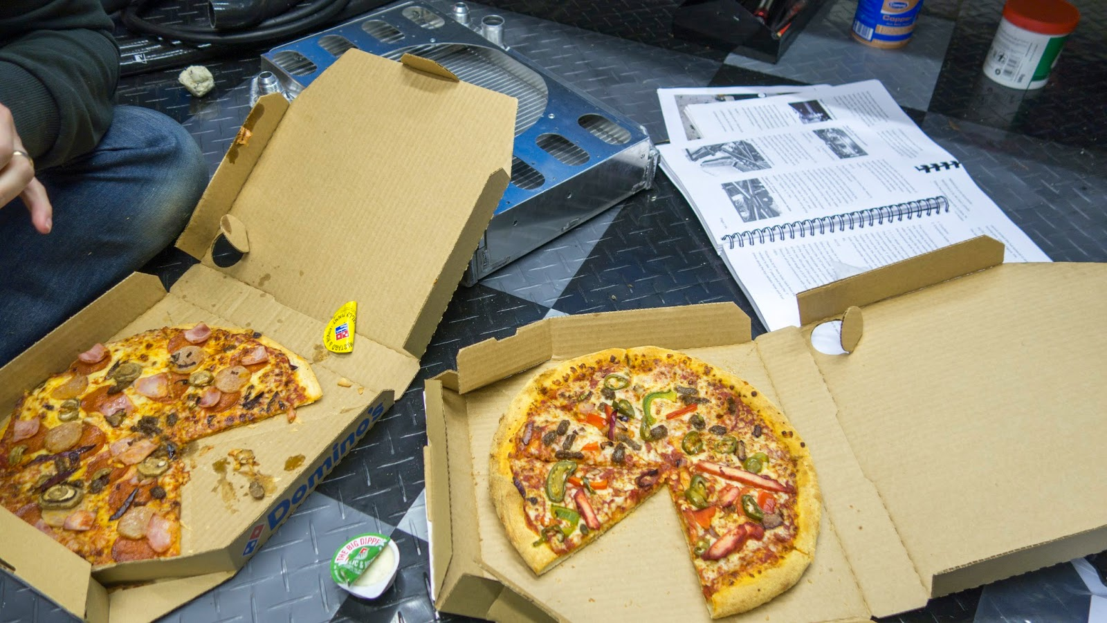 An energy boosting Domino's to gather our thoughts.