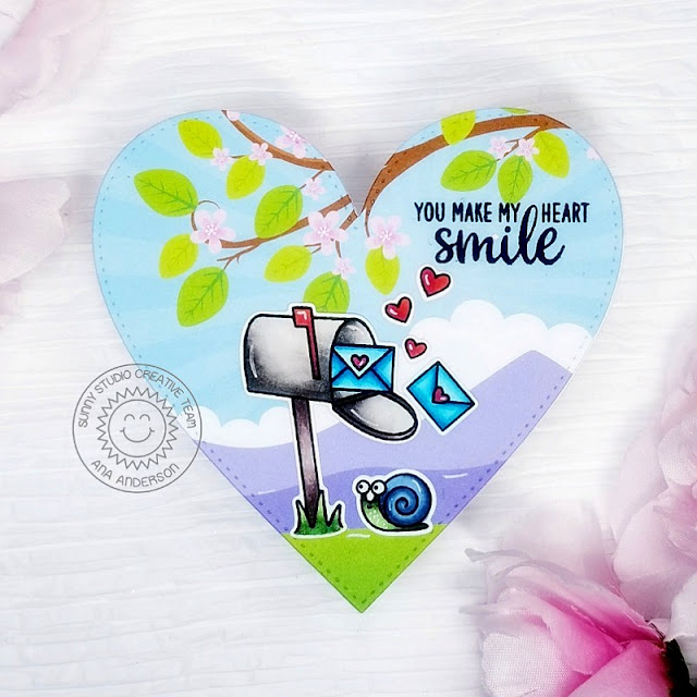 Sunny Studio Stamps: Snail Mail Stitched Heart Dies Friendship Card by Ana Anderson