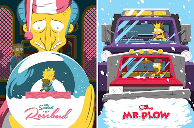 "The Simpsons ""Mr. Plow"" & ""Rosebud"" Screen Prints by Florey x Bottleneck Gallery"