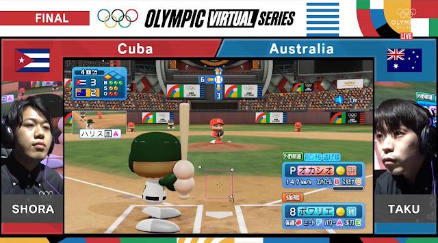 Olympic Virtual Series eBaseball Powerful Pro Baseball 2020 final game SHORA TAKU Cuba Australia fourth inning