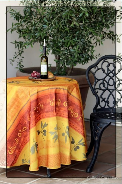 Table in front of Cafe in La Quinta California on Duvet, Shower Curtains & MORE!!