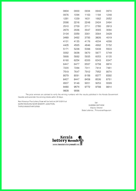 Kerala Lottery Results 17-10-2019 Karunya Plus KN-286 Lotteries Today