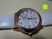 Erfahrungsbericht: Ostan Damen Uhren Mode Weiß Leder Runde Zifferblatt mit Zirkonia Armkette Armband Armbanduhr Uhr