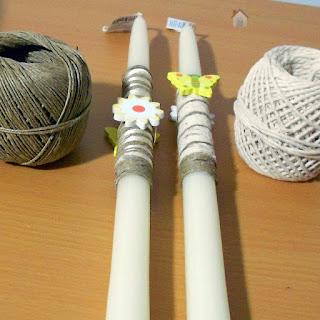 DIY Λαμπάδες με ξύλινα διακοσμητικά