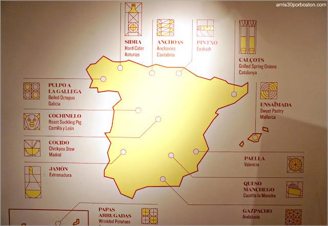 Mapa de España en el Mercado Little Spain, Nueva York